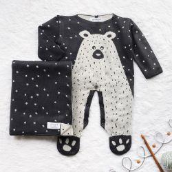 Saída Maternidade Tricot Jacquard Urso Nórdico Cinza Intenso 02 Peças