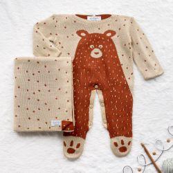 Saída Maternidade Tricot Jacquard Urso Nórdico Terracota 02 Peças