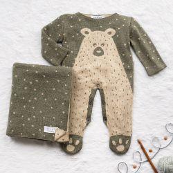 Saída Maternidade Tricot Jacquard Urso Nórdico Verde Musgo 02 Peças