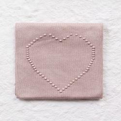 Manta Bebê Tricot Coração Nude Rosé 80cm