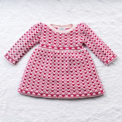 Vestido Tricot Jacquard Petit Coração com Pérolas Rosa