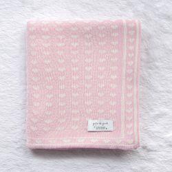 Manta Tricot Jacquard Petit Coração Rosa e Nude Dupla Face 80cm