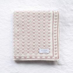Manta Tricot Jacquard Petit Coração Off White e Nude Rosé Dupla Face 80cm