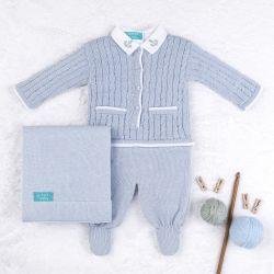 Saída Maternidade Tricot Navy Azul 03 Peças