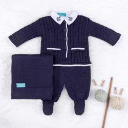 Saída Maternidade Tricot Navy Azul Marinho 03 Peças