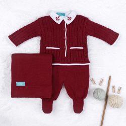 Saída Maternidade Tricot Navy Vermelho 03 Peças