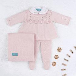 Saída Maternidade Tricot Principessa Rosa 04 Peças