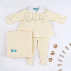 Saída Maternidade Tricot Principessa Amarelo 04 Peças