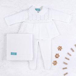 Saída Maternidade Tricot Principessa Branco 04 Peças