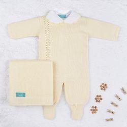 Saída Maternidade Tricot Petit Poá com Pérola Amarelo 03 Peças