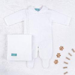 Saída Maternidade Tricot Petit Poá com Pérola Branco 03 Peças