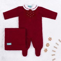 Saída Maternidade Tricot Marselha com Pérola Vermelho 03 Peças
