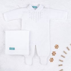 Saída Maternidade Tricot Marselha com Pérola Branco 03 Peças