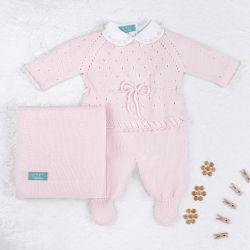Saída Maternidade Tricot Camélia Rosa 03 Peças
