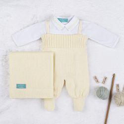 Saída Maternidade Tricot com Body Gola Americana Amarelo 03 Peças