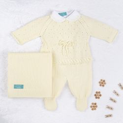 Saída Maternidade Tricot Camélia Amarelo 03 Peças