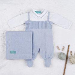 Saída Maternidade Tricot com Body Gola Americana Azul 03 Peças