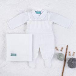Saída Maternidade Tricot com Body Gola Americana Branco 03 Peças