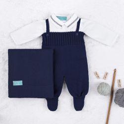 Saída Maternidade Tricot com Body Gola Americana Azul Marinho 03 Peças