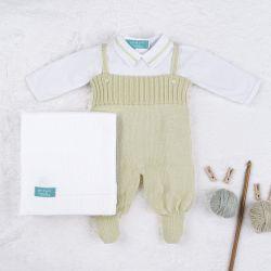 Saída Maternidade Tricot com Body Gola Americana Verde 03 Peças