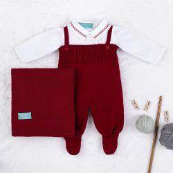 Saída Maternidade Tricot com Body Gola Americana Vermelho 03 Peças