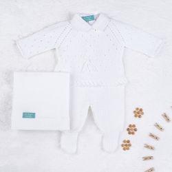 Saída Maternidade Tricot Camélia Branco 03 Peças