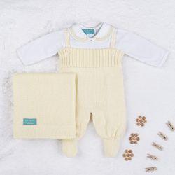 Saída Maternidade Tricot com Body Gola Bebê Amarelo 03 Peças