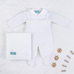Saída Maternidade Tricot com Body Gola Bebê Branco 03 Peças