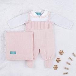 Saída Maternidade Tricot com Body Gola Bebê Rosa 03 Peças