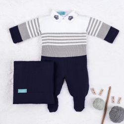 Saída Maternidade Tricot Reizinho Azul Marinho e Cinza 03 Peças