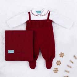 Saída Maternidade Tricot com Body Gola Bebê Vermelho 03 Peças