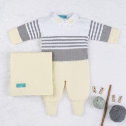 Saída Maternidade Tricot Reizinho Amarelo e Cinza 03 Peças