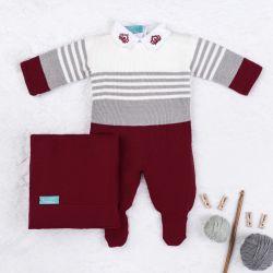 Saída Maternidade Tricot Reizinho Vermelho e Cinza 03 Peças