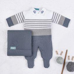 Saída Maternidade Tricot Reizinho Azul Jeans e Cinza 03 Peças