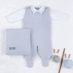 Saída Maternidade Tricot com Macacão e Body Requinte Azul 03 Peças