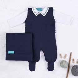 Saída Maternidade Tricot com Macacão e Body Requinte Azul Marinho 03 Peças
