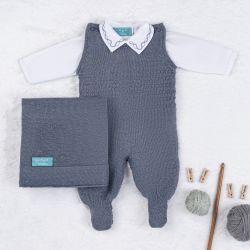 Saída Maternidade Tricot com Macacão e Body Requinte Azul Jeans 03 Peças