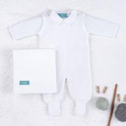Saída Maternidade Tricot com Macacão e Body Requinte Branco 03 Peças