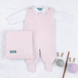 Saída Maternidade Tricot com Macacão e Body Requinte Rosa 03 Peças