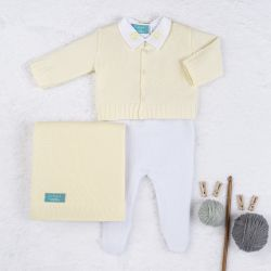 Saída Maternidade Tricot Urso Clássico Amarelo e Branco 04 Peças