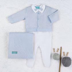 Saída Maternidade Tricot Urso Clássico Azul e Branco 04 Peças
