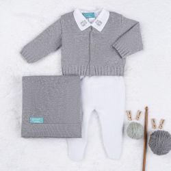 Saída Maternidade Tricot Urso Clássico Cinza e Branco 04 Peças