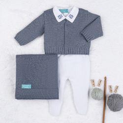 Saída Maternidade Tricot Urso Clássico Azul Jeans e Branco 04 Peças