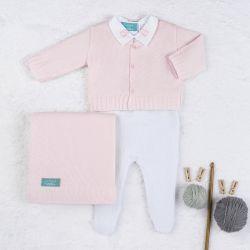 Saída Maternidade Tricot Urso Clássico Rosa e Branco 04 Peças