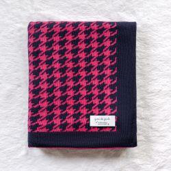 Manta Tricot Jacquard Pied de Poule Pink e Azul Marinho 80cm
