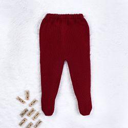Calça Bebê Tricot Pézinho Canelado Vermelho