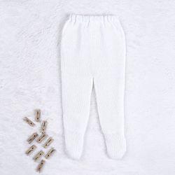Calça Bebê Tricot Pézinho Canelado Branco