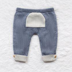Calça Tricot com Bolsinho Cinza e Azul Jeans
