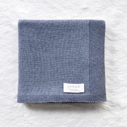 Manta Tricot Clássico Azul Jeans 80cm