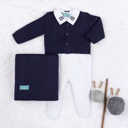 Saída Maternidade Tricot Urso Clássico Azul Marinho e Branco 04 Peças